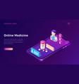 online medicine isometric concept telemedicine vector image vector image