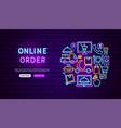 online order neon banner design vector image
