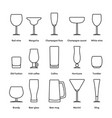pack of different thin line stemware vector image vector image