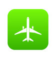 plane icon digital green vector image