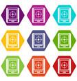 radar icon set color hexahedron vector image vector image