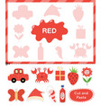 red color cut elements and match them vector image
