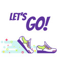 running sneakers line art text lets go vector image
