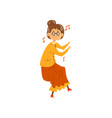 senior woman listening to music and dancing vector image vector image