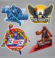 set of basketball badge collection vector image vector image