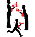Silhouette Waiter with the tray vector image