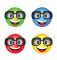 smiley with sunglasses in different color vector image vector image