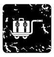 Suitcase on a cart icon grunge style vector image vector image