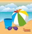 summer vacations beach with icons vector image vector image