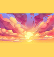 sunset or sunrise sky with pink clouds vector image