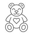 teddy bear thin line icon animal and child plush vector image