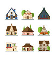 traditional buildings houses and constructions of vector image vector image