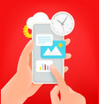 using internet via modern smartphone cute 3d style vector image