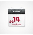 valentines day calendar 14 february date vector image
