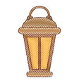 vintage lantern in colored crayon silhouette vector image