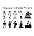 virus pandemic first-liner workers icons vector image