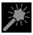 white halftone wizard wand icon vector image