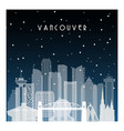 winter night in vancouver night city vector image
