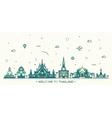 Skyline Thailand linear style vector image