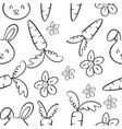 collection bunny and carrot pattern vector image