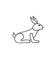 Doodle rabbit animal icon vector image
