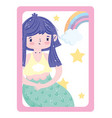 adorable little mermaid rainbow star and cloud vector image vector image