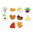 autumn season icon set vector image vector image