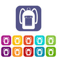 backpack icons set flat vector image vector image