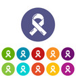 cancer ribbon icons set color vector image