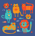 cat set hand drawn flat design cartoon vector image