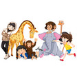 children with animals on isolated background vector image