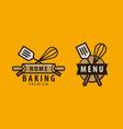 cuisine cooking logo or label menu design vector image