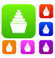 cupcake set collection vector image vector image