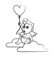 cupid on cloud with heart shaped balloon sketch vector image