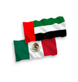 flags mexico and united arab emirates on a vector image