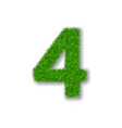 grass number four green 3d number four isolated vector image vector image