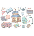 hand drawn cartoon school supplies and items set vector image