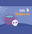 happy halloween cauldron skull creepy eye vector image vector image