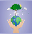 human two hand holding worldsave natureworld vector image