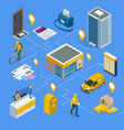 isometric infographics concept post office postman vector image vector image