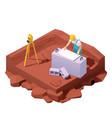 isometric surveyor engineer on geodetic works vector image