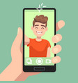 man taking selfie photo on smartphone smiling vector image