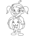 outlined pumpkin kid vector image vector image