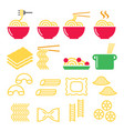 pasta noodles spaghetti - italian food icons set vector image vector image