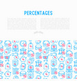 percentages concept with thin line icon vector image vector image