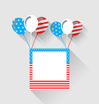 Photo frame and balloons in US national colors vector image vector image