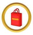 Red bag for shopping icon