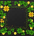 saint patrick day border with golden shimmergreen vector image vector image