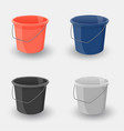 set of colored buckets realistic object vector image
