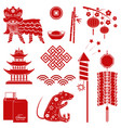 set red chinese new year silhouette icons vector image vector image